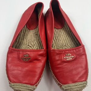 Coach red & gold leather espadrilles slip on shoe